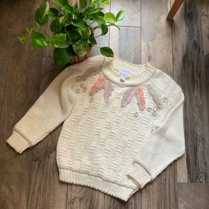 Vintage chunky cable sweater boho sz small